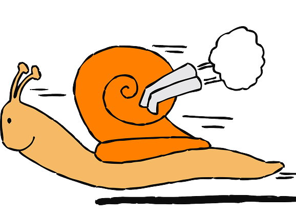 Illustration, un escargot avec un moteur de course