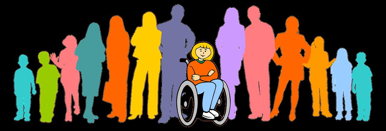 Dessin d'une personne en fauteuil roulant entourée de personnes debout